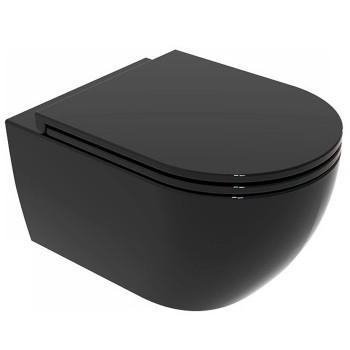 Подвесной безободковый унитаз GSG Like (LKWCSO002) черный глянец