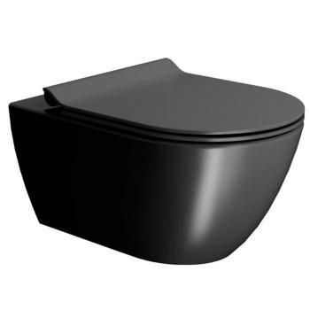 Унитаз подвесной GSI Pura 55х36 см с кришкой 881526+MS86CSN26+FISR2 черный мат